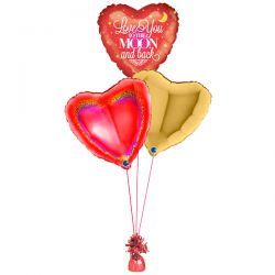 Folie ballonboeket Love you to the moon and back