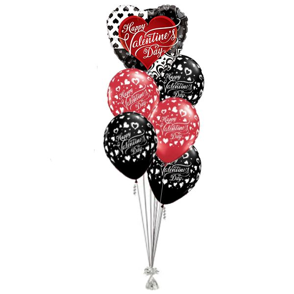 Ballonboeket Happy Valentine's Day Red & Black