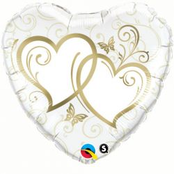 Folieballon Entwined Hearts Goud