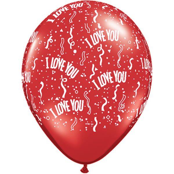 10 stuks 5 inch (13 cm) Ruby Red I Love You Qualatex Ballonnen