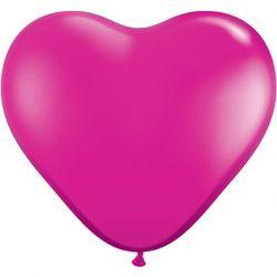 10 Stuks 6 inch (15 cm) Jewel Magenta Hartjes Qualatex Ballon