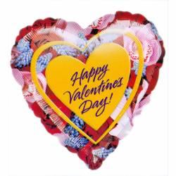 XL Ballon Happy Valentine's Day met bloemen