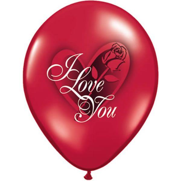 6 stuks 11 inch (28 cm) I Love You & Rose Qualatex Ballonnen