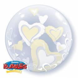 Dubbel Bubble Ballon Floating Hearts Ivory