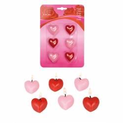 Kaarsen in de vorm van een hart,  rood en roze