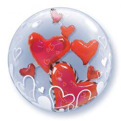 Dubbel bubble ballon met hartjes